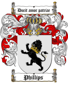 "PHILLIPS Arms—Argent, a lion rampant sable, ducally gorged and chained or. Crest—A lion as in the Arms. Motto—Ducit amor patriae. (The love of my country leads me on.) (Crozier: ""General Armory."")"