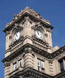 Ornate clock tower is the perfect symbol atop the seven-story office tower of The Philadelphia Watch Case Co. in Riverside, NJ. The factory, which produced gold watch cases, had 32 fire and burglar-proof vaults. Floors were sloped so gold particles could be flushed into a cistern and recovered.