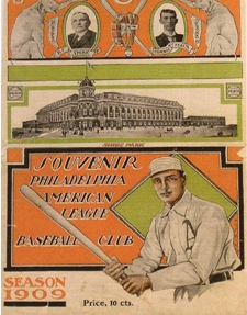 Souvenir program celebrated opening day (April 13, 1909) of Shibe Park, the nation's first stadium erected with steel and reinforced concrete. The Philadelphia Athletics honored the day by trouncing Boston 8-1.