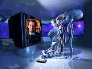 Aliens watching Peter Jennings