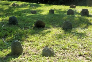 This is a small cemetery, but most of the graves are marked by only rough field stones, the others with very eroded limestone markers. Only a handful are barely readable.