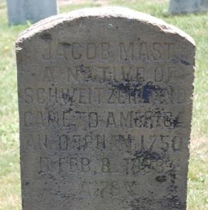 Jacob Mast 1738-1808, Pine Grove Cemetery
