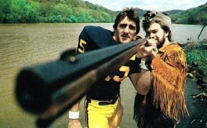 Hostetler with Mountaineer on the Mon River